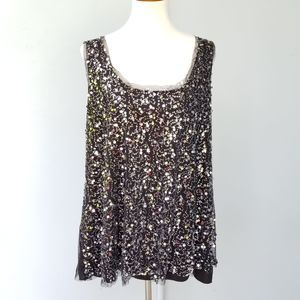 Fashion Bug Black Embellished Tank Top Sequined 2X